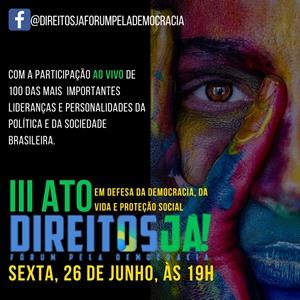 Direitos Já – Fórum pela Democracia promove ato virtual nesta sexta-feira